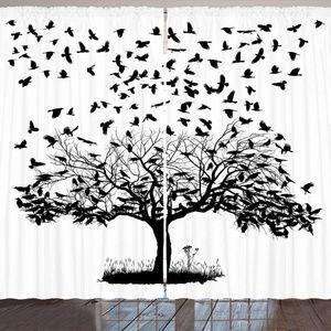 "Curtains 108""W x 84""L Barren Tree Birds Backdrop"